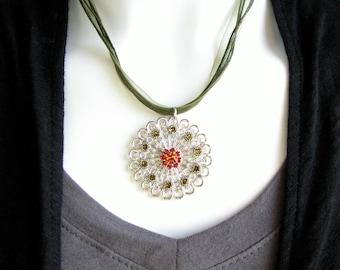 Retired Swarovski Crystal Medallion Necklace - Swarovski Crystal in Topaz and Olivine