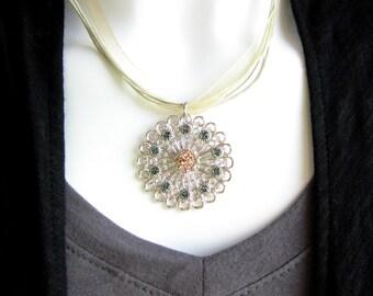 Retired Swarovski Crystal Medallion Necklace - Swarovski Crystal in Peach and Montana Blue