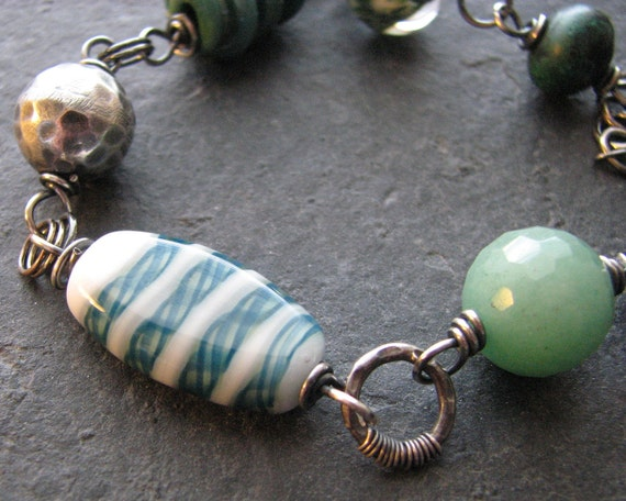 Teal Spiral, Aventurine and Oxidized Sterling Silver Wire Wrapped Bracelet