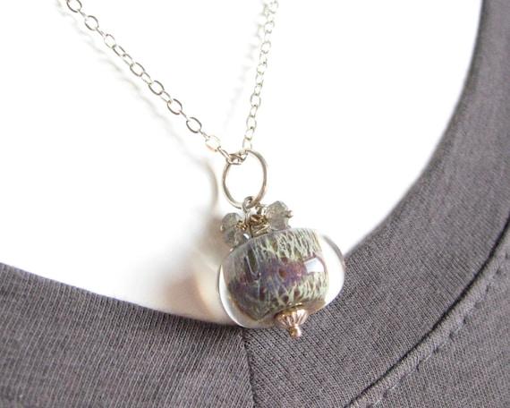 Lampwork Necklace - Gray and Lavender Boro Pendant Necklace