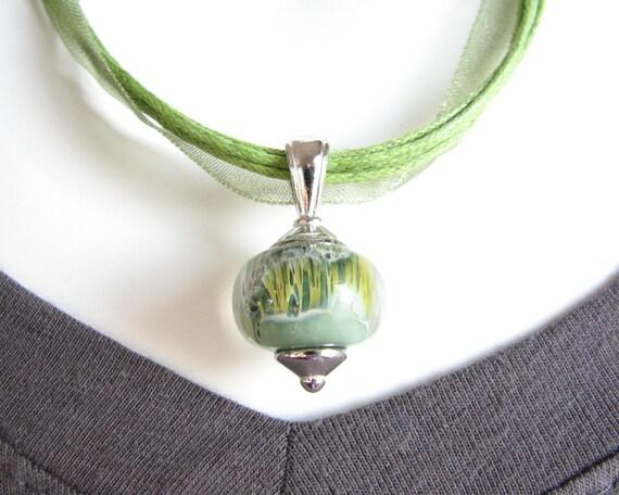 Earthy Green Boro Bead Necklace - Lampwork Bead Necklace