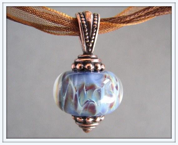 Lavender and Purple Boro Lampwork Necklace - Brown Ribbon
