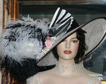 Kentucky Derby Hat Edwardian Ascot Hat Downton Abbey Hat Titanic Hat - Fair Lady - Wide Brim Hat Womens