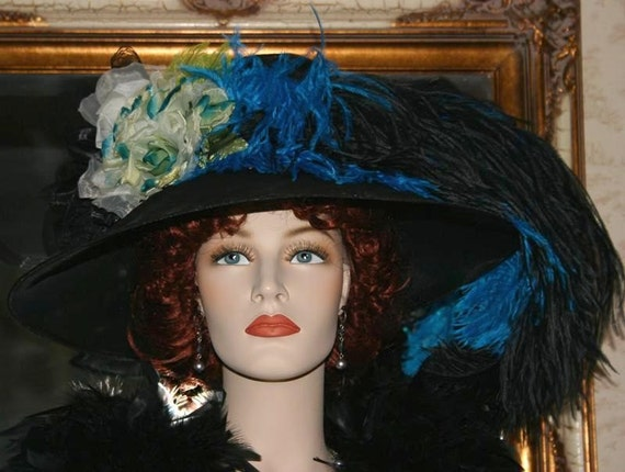 "Kentucky Derby Hat Edwardian Hat Tea Hat Downton Abbey Hat Ascot Hat ""Run for the Roses"" Black & Turquoise Tea Hat"