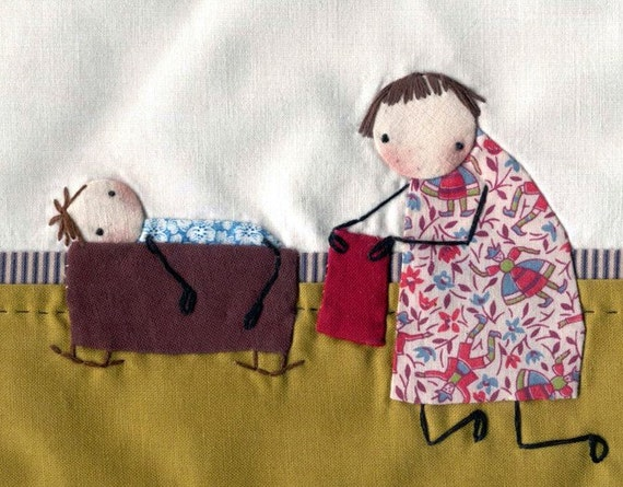 Blanket For Dolly ,,,,, Little Mini Art Quilt