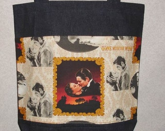 New Large Denim Tote Bag Handmade with Gone with the Wind Theme fabric
