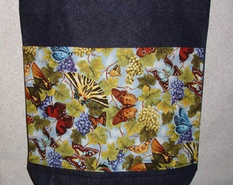 New Large Handmade Butterfly Grapes Denim Tote Bag