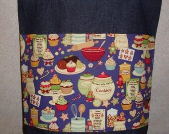 New Handmade Christmas Baking Goodies Large Denim Tote Bag