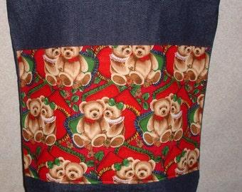 New Handmade Large Christmas Teddy Bears Denim Tote Bag