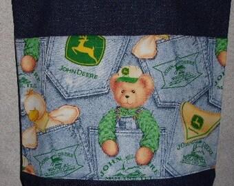 New Large Denim Tote Bag Handmade with John Deere Teddy Bear Fabric