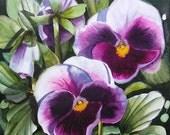 Violet Pansies - Original small flower floral watercolor painting 6x6 inch Doris Joa