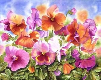 Pansies Watercolor Painting Print