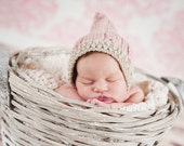 Cabled button strap Hood for NEWBORNS photography prop - Pink and beige
