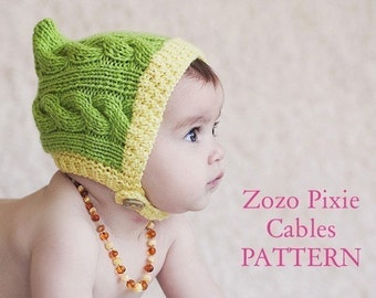 PATTERN Zozo Pixie Cables knitted baby hood
