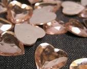 CLOSEOUT - Heart Jewel Flatbacks - Soft Pink - 24 pcs (now 48pcs) - Faceted Heart Cabochon, Light Pink Heart Cabochon, Faceted Pink Heart