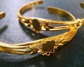 Olive Leaf Cuff Blanks 10x8mm Cabochon Setting - 2pcs, Gold Plated Cuff Bracelet, Gold Plated Cabochon Bracelet Blank