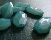25x16mm Translucent Faceted Acrylic Flat Nugget Beads - Sea Blue - 24pcs