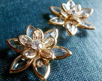 Swarovski Filigree Flowers - Crystal/Gold - 2pcs