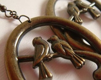CLEARANCE . lovebird hoops . antiqued brass bird earrings - bird hoop earrings, statement earrings, lovebird earrings