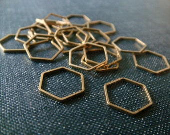 Honeycomb Hexagons 12mm - Raw Brass - 24 pieces - Hexagon Connectors, Brass Hexagons, Hexagon Link