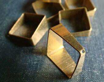 Tapered Squares - 20mm - Raw Brass - 6pcs - Cut Tube, Square Charm, Geometric Square, Square Drop, Brass Square, Cube Pendant