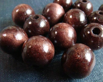 DESTASH - Vintage 18mm Round Wood Beads - Dark Brown -  78pcs