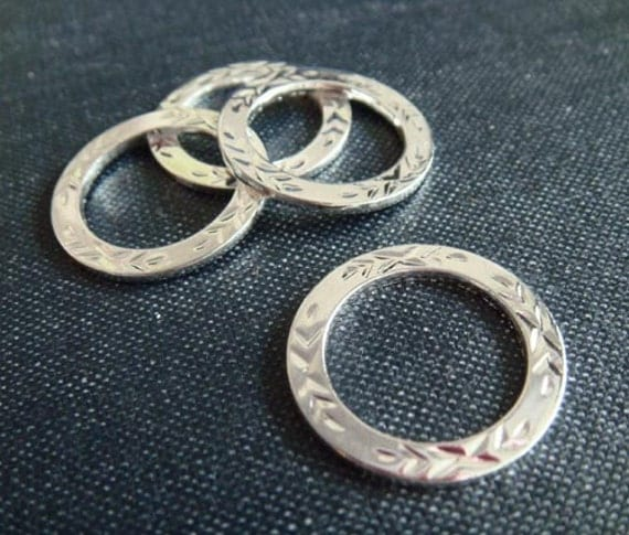 Etched Brass Circles - Silver Plated - 3pcs - LAST LOT