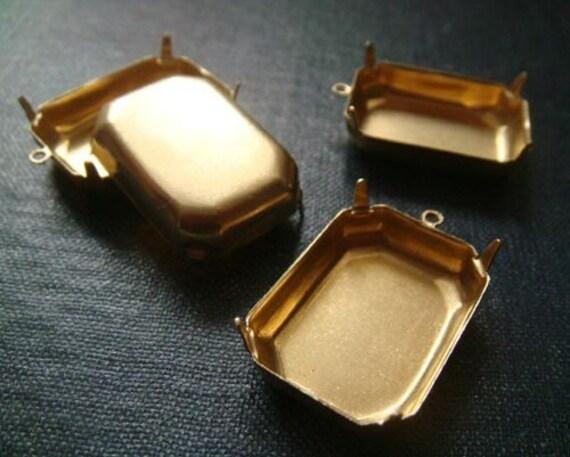 25x18mm Octagon Single-Loop Brass Rhinestone Prong Settings - 16pcs - LAST LOT