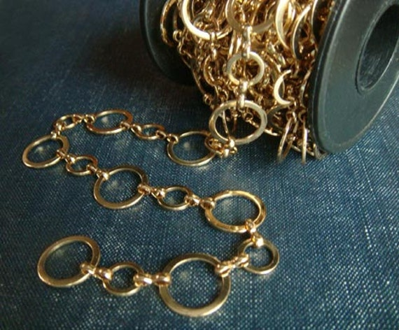 Gold Plated 14mm and 8mm Circle Hoop Chain - LAST 2ft
