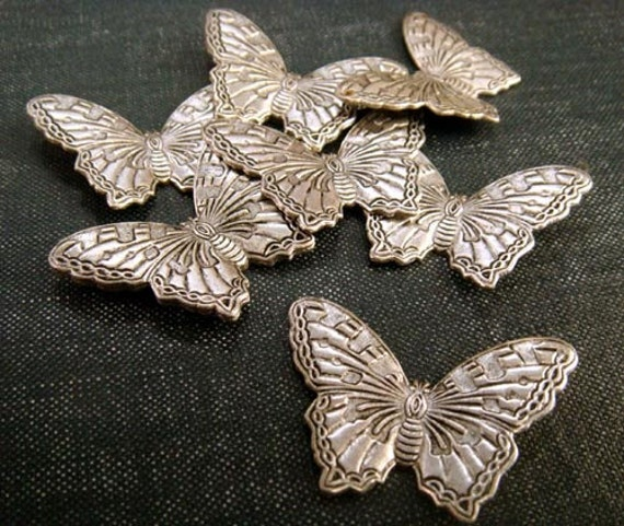 DESTASH - Detailed Butterfly Stampings - Antiqued Silver - 9pcs