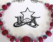 RESERVED for Susan - Ruby Rage - Red Coral and Mabled Jade Necklace