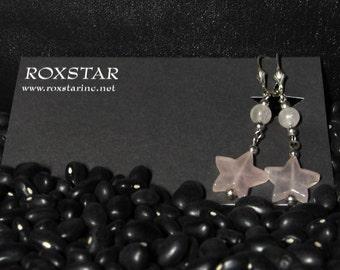 Rose Quartz Star Sterling Silver Earrings
