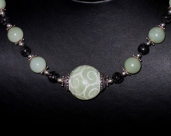 Lava Luck - Carved Jade and Lava Necklace