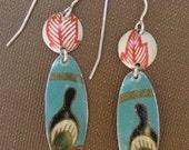 peacock lure earring