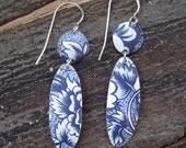 reclaimed tin delft flower lure earring