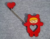 Don't lose your heart  brooch - red & blonde