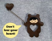 Don't lose your heart  brooch - chocolate & black