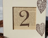 Set of 6 WEDDING TABLE NUMBERS Rustic, Vintage, Hearts, Vintage White, Bridal Shower, Distressed, Shabby Chic