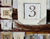 Set of 6 WEDDING TABLE NUMBERS Rustic, Vintage, Corner scroll, Bright White, Bridal Shower, Distressed, Shabby Chic