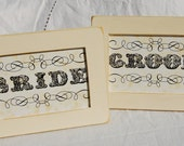 BRIDE and GROOM WEDDING Frames, Sweetheart Table, Vintage White, Wedding