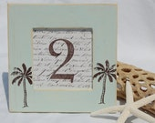 Set of 20 WEDDING TABLE NUMBERS Beach, Starfish, Palm Trees,Tranquil Blue, Bridal Shower, Distressed, Shabby Chic
