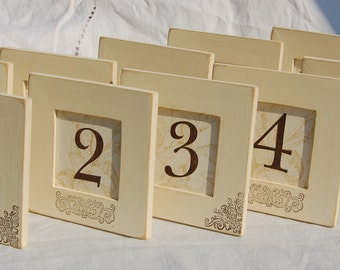 10 WEDDING TABLE NUMBER Frames  Rustic, Vintage, Scroll, Vintage White, Bridal Shower, Distressed, Shabby Chic