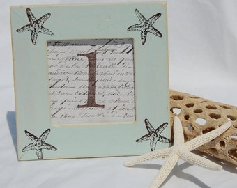 Set of 10 WEDDING frames, TABLE NUMBERS Beach, Starfish, Palm Trees,Tranquil Blue, Bridal Shower, Distressed, Shabby Chic