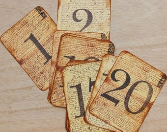20 WEDDING TABLE NUMBERS 1-20 on Aged  Paper