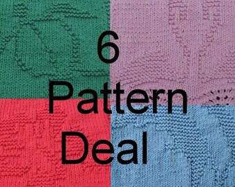 6 Dishcloth  Knitting Pattern Deal