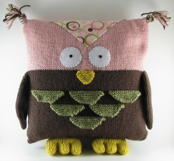 Owl Cushion Knitting Pattern : Owl Pillow PDF Knitting Pattern