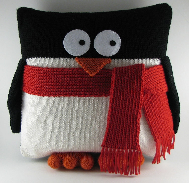 Penguin Pillow PDF Knitting Pattern by wrchili on Etsy