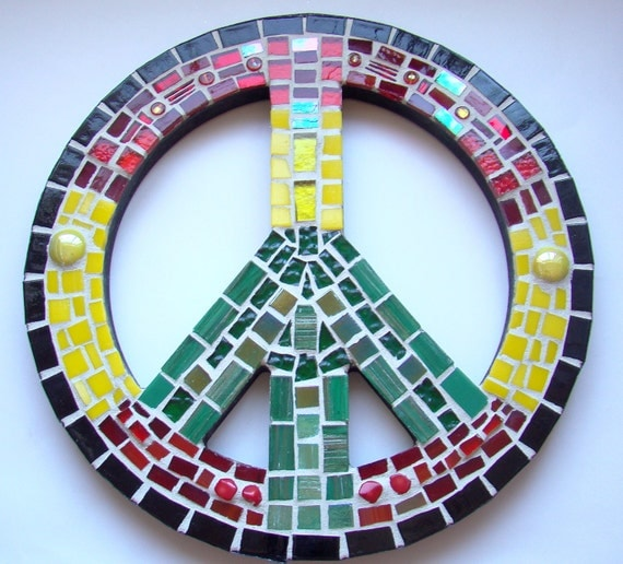 Mosaic Art Peace Sign Wall Hanging Stained Glass Rasta Man Vibration Red Yellow Green Black