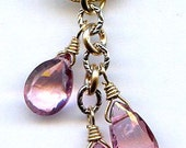 Pink Topaz Briolette Pendant FD687E