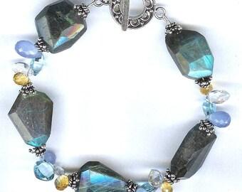 Labradorite And Multi Gem Sterling Silver Barcelet FD296